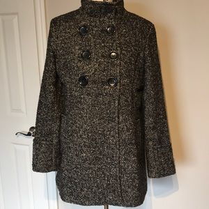 Wool Jacket Coat DoubleBreast Turtle Neck Military